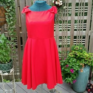Cherry Red fit and flare dress (plus size)
